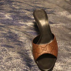 Gucci kitten heel peep toe shoes.